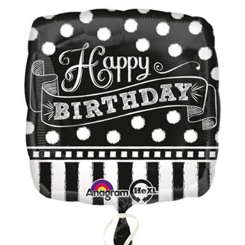 Folieballon Black & White Chalkboard Happy Birthday