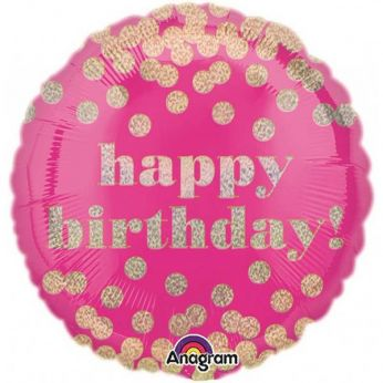 Folieballon Happy Birthday! (Roze)