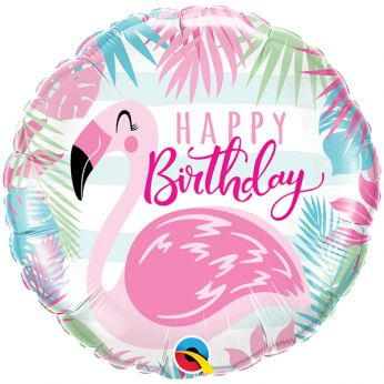 Folieballon Happy Birthday Flamingo