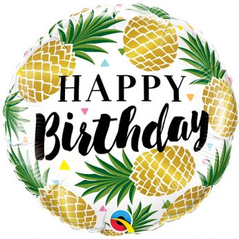 Folieballon Happy Birthday Golden Pineapples
