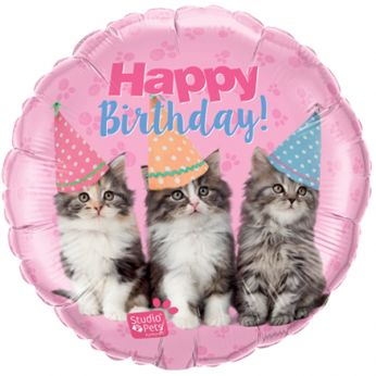 Folieballon Birthday Kittens