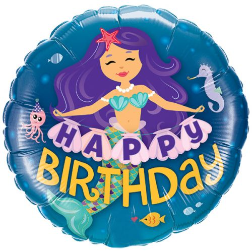 Folieballon Happy Birthday Mermaid