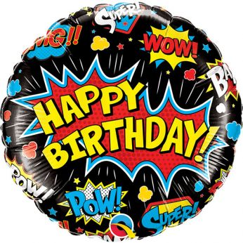 Helium Ballon Birthday Super Hero Black