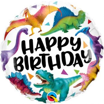 Heliumballon happy birthday colorful dinosaurs