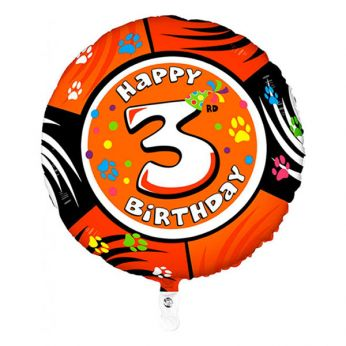 Folieballon Animaloons Happy 3rd Birthday Fox (Vos)