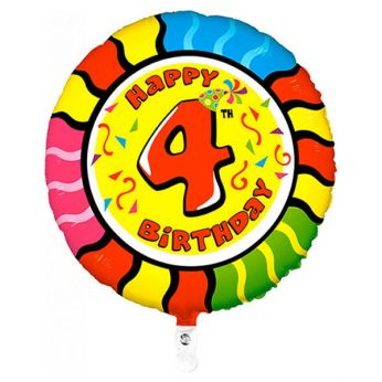 Folieballon Animaloons Happy Birthday 4th Snake (Slang)