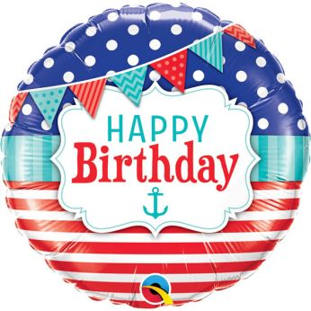 Folieballon Happy Birthday Nautical & Pennants
