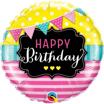 Folieballon Happy Birthday pennants & pink stripes