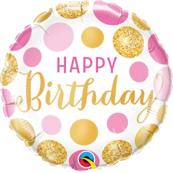 Folieballon Happy Birthday Pink & Gold Dots