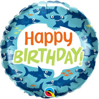 Helium Ballon Happy Birthday fun sharks