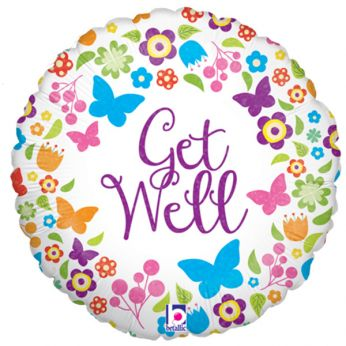 Folieballon Get Well Butterflies & Flowers