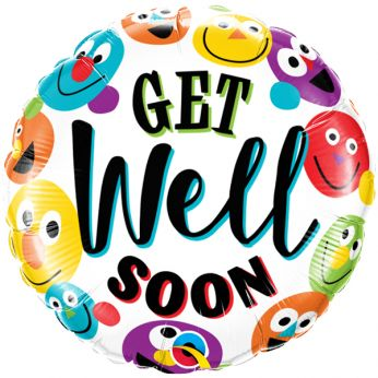 Folieballon Get Well Soon Smileys