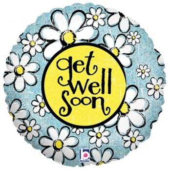 Folieballon Get Well Soon Denim Daisy