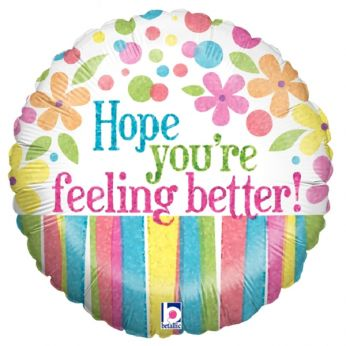 Folieballon Holographic Feeling Better Flowers
