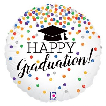 Folieballon Glitter Holographic Happy Graduation!