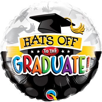 Heliumballon met de Tekst: Hats off to the Graduate