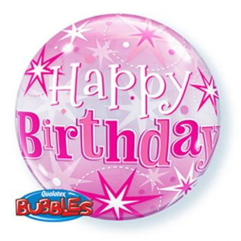 Bubble Ballon Starburst Sprinkle Happy Birthday Pink