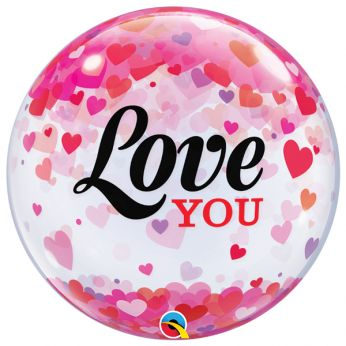 Bubble Ballon Love You Confetti Hearts
