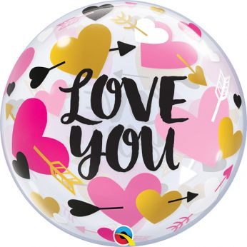 Bubble Ballon Love You Confetti Hearts & Arrows