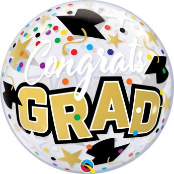 Bubble Ballon Congrats Grad dots & stars