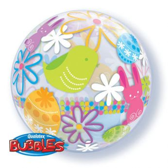 Bubble Ballon Spring bunnies & Flowers