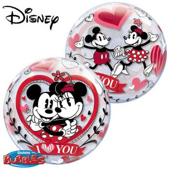 Bubble Ballon Mickey & Minnie Mouse I Love You