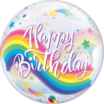 Bubble Ballon Happy Birthday Rainbow unicorns