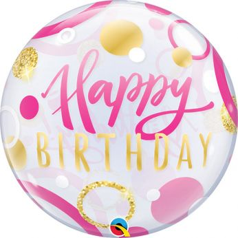 Bubble Ballon Happy Birthday Dots Pink