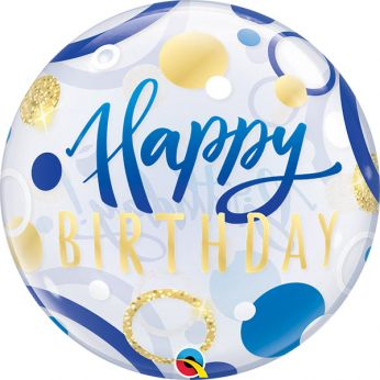 Bubble Ballon Happy Birthday Dots Blue