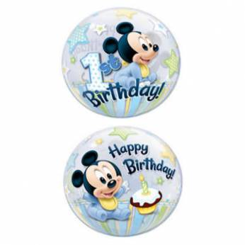 Bubble Ballon Mickey Mouse 1ste Verjaardag
