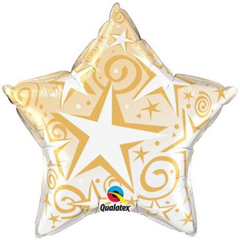 Folieballon Stars & Swirls Gold