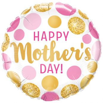 Folieballon Mother's Day Pink & Gold Dots