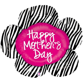 Folieballon Mother's Day Zebra Flower