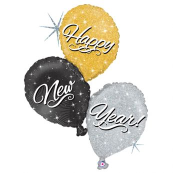 Folieballon Holographic Happy New Year Trio