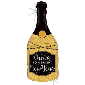 Folieballon Glitter Holographic New Year Champagnefles