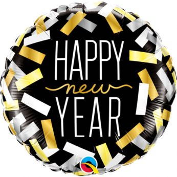 Folieballon Happy new Year confetti