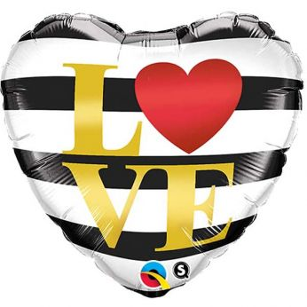 Folieballon Love (Zwart/Wit gestreept)