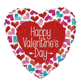 Folieballon Happy Valentine Day hearts