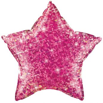 1 X 20 inch (51 cm) Holographic Jewel Magenta Ster Qualatex Folieballon