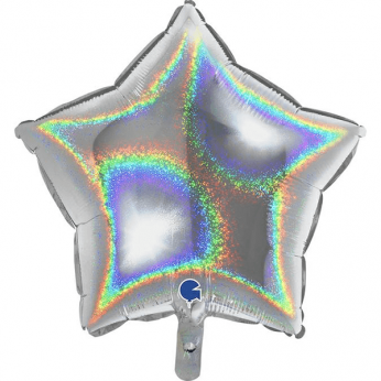 Heliumballon ster - 18 INCH (45 cm) Glitter silver