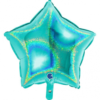 Heliumballon ster - 18 INCH (45 cm) Glitter tiffany