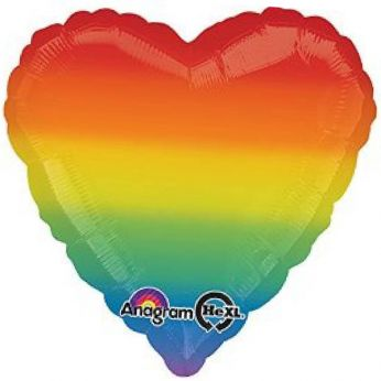 1 X 18 inch (46 cm) Folieballon Rainbow Heart