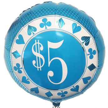 Folieballon 5 Dollar (Blauw)