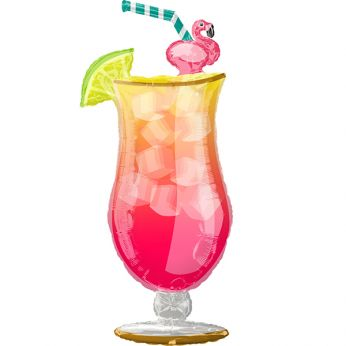 Folieballon Cocktail Flamingo