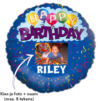Foto Ballon Happy Birthday Blue met naam