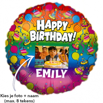 Foto Ballon Happy Birthday! met naam
