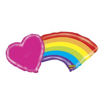 Heliumballon mighty heart rainbow 43 inch (109cm)