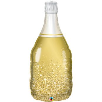 Heliumballon bottle golden bubbly wine  - 39 inch (99 cm)