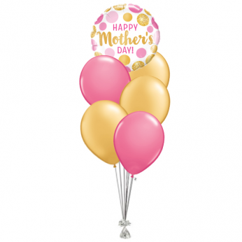 Ballonboeket Happy Mother's Day Gold & Pink