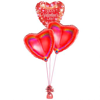 Folie ballonboeket happy valentine's day holographic